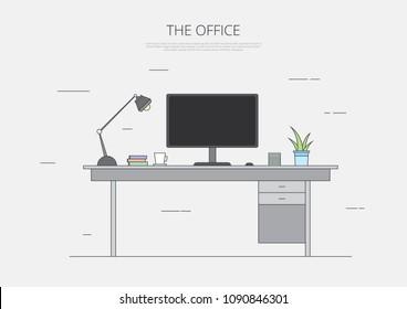 Business Office Desk Line Art Vector Illustration