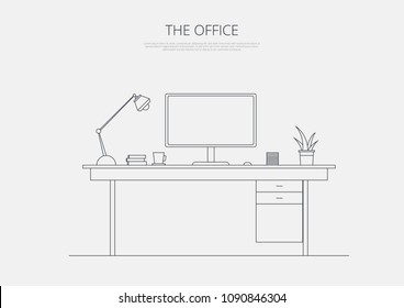 Business Office Desk Line Art Vector Illustration