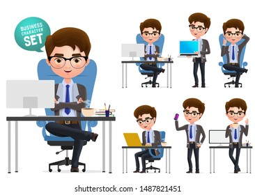 Business office desk vector character set. Business man character sitting and working in office desk and talking set isolated in white background. Vector illustration.