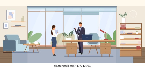 Business office flat color vector illustration. Corporate manager, company CEO cabinet 2D cartoon interior design with characters on background. Businessman with secretary, personal assistant