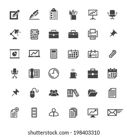 Business Office Icon Set - Vector Graphic