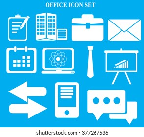 Business and office icons set on blue background vector illustration