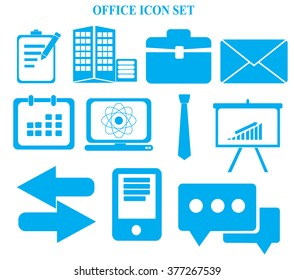 Business and office icons set on white background vector illustration