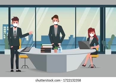 Business office people maintain social distancing meeting room. Stop covid-19 coronavirus. New normal lifestyle in job.