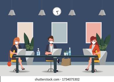 Geschäftsleute unterhalten einen gesellschaftlichen distanzierenden Sitzungssaal. Beenden Sie das Coronavirus covid-19. Neuer normaler Lebensstil im Beruf.