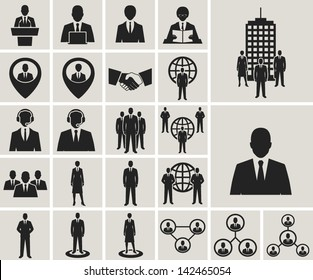 Business and office people, management, human resources vector icons set