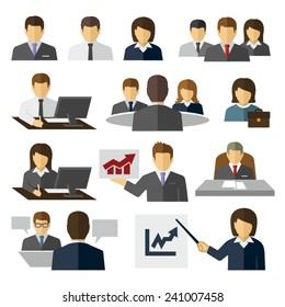Business Office People Vector Flat Icons