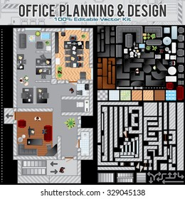 Business Office Planning Creation Kit. Kit Including: Construction Office  Accessories, Elements, Various