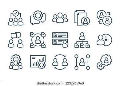 Business and office related line icon set. HR and structure line vector icons.