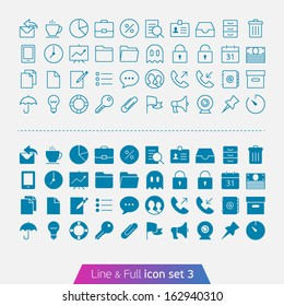 Business and Office set 3. Trendy thin icons for web and mobile. Line and full versions.