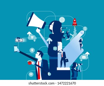 Business office team. Concept business vector illustration, Communication, Meeting, Coworker.