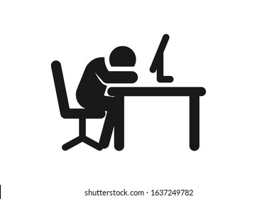Business office tired worker flat icon isolated on white background