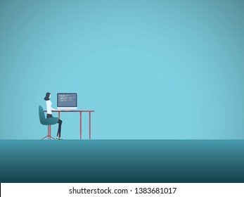 Business office work vector concept with woman sitting in front of computer. Symbol of career, modern technology, jobs as programmers, developers, designers. Eps10 illustration.