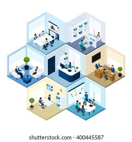 Business offices workspace interior organization tessellated honeycomb hexagonal isometric composition pattern abstract vector isolated illustration