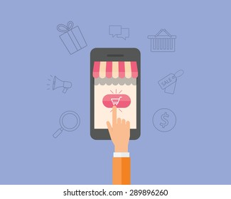 business on line shopping and e-marketing on mobile.shop on line.people hand.