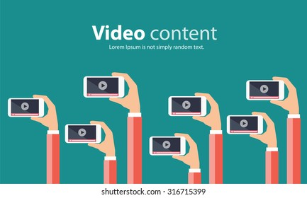 business on line video marketing content  concept.flat vector. background.marketing on line.video on line.mobile on hand