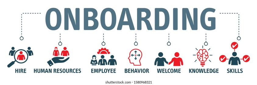 Business onboarding concept. Organizational socialization vector illustration with vector icons