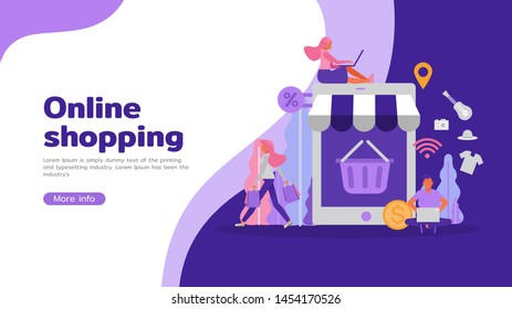 Business online shopping concept. Business People character vector design. For landing page, web, poster, banner, flyer and greeting card.