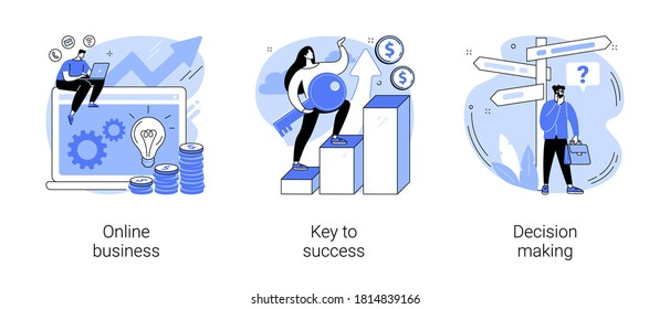 Business opportunity abstract concept vector illustration set. Online business, key to success, decision making, problem solving, leadership, startup teamwork, collaboration abstract metaphor.
