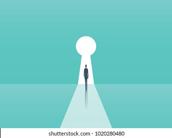 Business opportunity and career ambition, success vector concept with businessman walking towards door in shape of keyhole. Eps10 vector illustration.