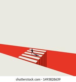 Geschäftschancen und Entscheidungsvektorkonzept mit Geschäftsmann neben der Kreuzung. Symbol des Ziels, des Ziels, der Ziele, der Herausforderung. Eps10 Illustration.