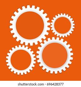 business orange background with cogwheels. Vector illustration