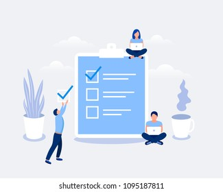 Business organization and achievements of goals design concept. Business people are sitting near checklist. Flat style. Vector illustration.