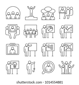 business and organization management icons, line theme