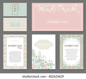 Business or other event painted floral background. Design stationery set in vector format. Corporate design. Wedding, shabby chic. greeting card template. blank card.  stationery. blank greeting card