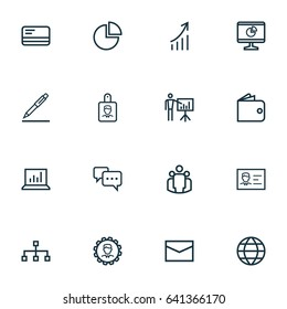 Business Outline Icons Set. Collection Of Structure, Statistics, Global And Other Business Outline Icons Elements. Also Includes Symbols Such As Leader, Pie, Manager.