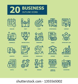 Business Outline icons.Business and Finance Concept Thin line icons.