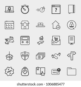 Business outline vector icon set on light gray background