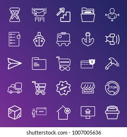 Business outline vector icon set on gradient background