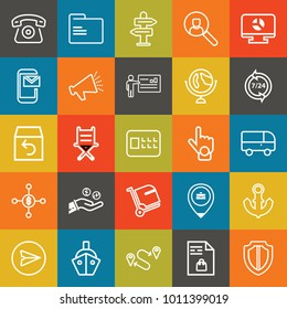 Business outline vector icon set on colorful background