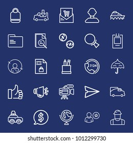 Business outline vector icon set on navy background