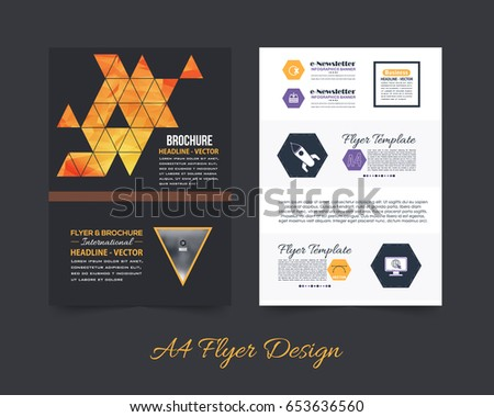 cc5a7db4906bc3 Business Pamphlet or Polygonal Booklet Template. A4 Document and Vector  Background. Flyer Geometric Low Poly Style Brochure - Vector