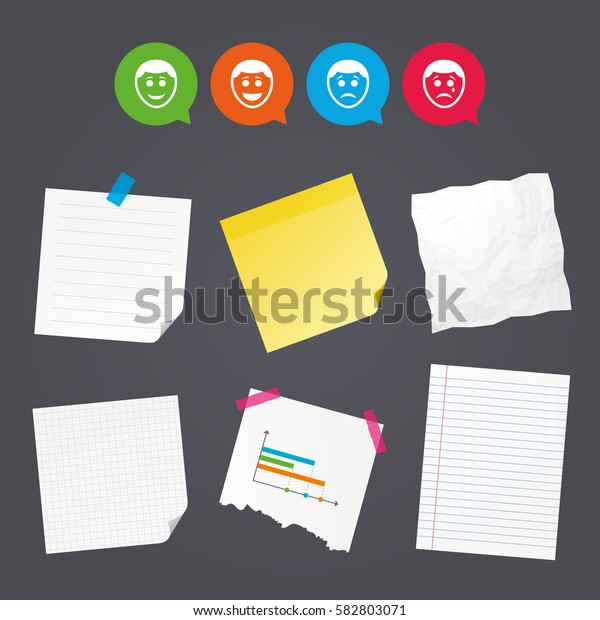 Business paper banners with notes. Human smile face icons. Happy, sad, cry signs. Happy smiley chat symbol. Sadness depression and crying signs. Sticky colorful tape. Speech bubbles with icons. Vector