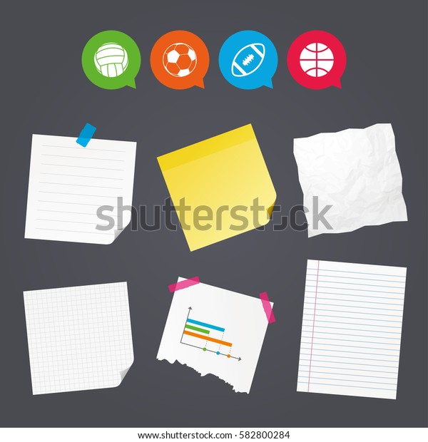 Business paper banners with notes. Sport balls icons. Volleyball, Basketball, Soccer and American football signs. Team sport games. Sticky colorful tape. Speech bubbles with icons. Vector