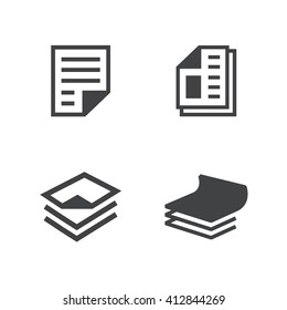 business paper icons set