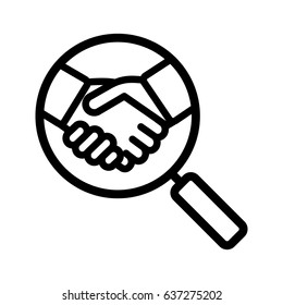 Business partner search linear icon. Thin line illustration. Magnifying glass with handshake contour symbol. Vector isolated outline drawing