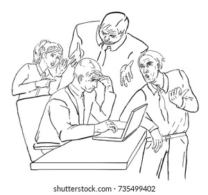 Business partners distract man sitting in chair with laptop on table in indoor office space, three men and one woman, workers with tie and suit, overwhelmed schedule, funny face, hands gestures
