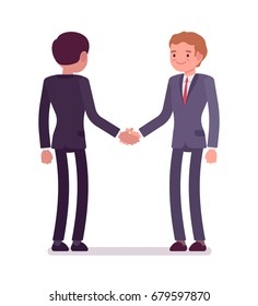 Business partners handshaking. Men in formal wear grasping hands interviewing meeting, congratulating on good deal. Office etiquette concept. Vector flat style cartoon illustration, isolated, on white