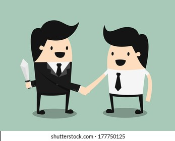 business partners handshaking while another people holding knife behind his back