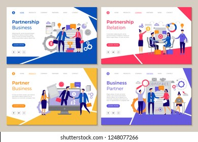 Business partners landing. Web pages template brainstorming people work partnership finance meeting strategy vector designs