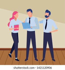 Business partners working with office documents and laptops inside office with wooden floor scenery, vector illustration.