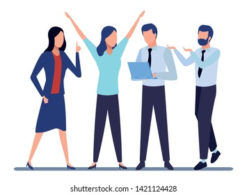 Business partners working with office documents and laptops colorful isolated faceless avatar vector illustration graphic design