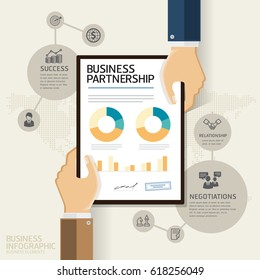 business partnership and analysis infographic concept. Hands give business analysis document paper. Vector Illustrations.