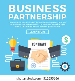 Business partnership, contract conclusion. Modern concepts, flat icons set and graphic elements for web banners, infographics, web design, printed materials. Creative flat design vector illustration
