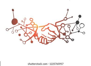 Business, partnership, handshake, agreement, trust concept. Hand drawn handshake of businessmen concept sketch. Isolated vector illustration.