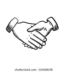 Business partnership handshake of two people isolated on white background. Outline sketch style